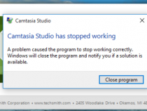 Khắc phục lỗi camtasia studio has stopped working